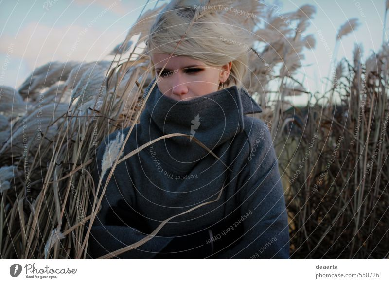 Mensch Frau Himmel Natur Jugendliche Pflanze Junge Frau Landschaft Blatt Winter 18-30 Jahre Erwachsene Umwelt Wiese feminin Gras