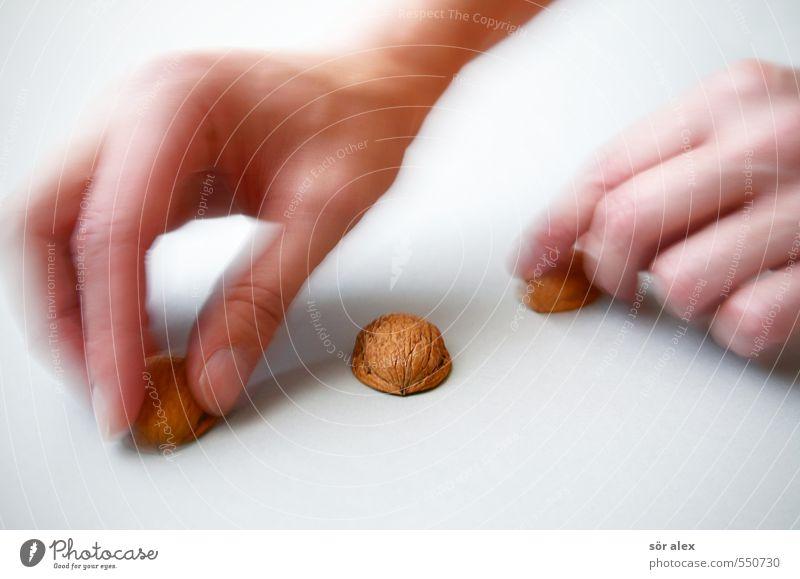 Hütchenspieler Glück Glücksspiel Glücksspieler Kapitalwirtschaft Börse Business Karriere maskulin Hand Finger Entschlossenheit Überraschung betrügen Walnuss