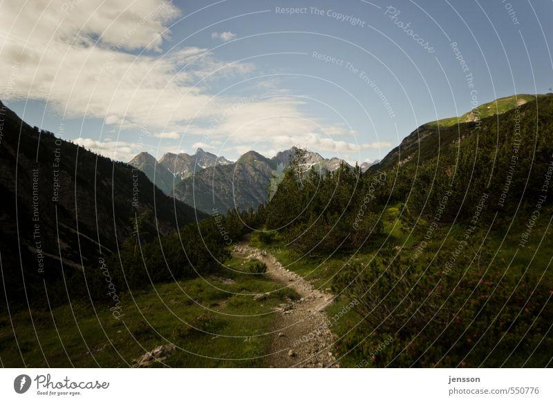 talwärts Ausflug Abenteuer Ferne Freiheit Berge u. Gebirge wandern Umwelt Natur Landschaft Pflanze Himmel Wolken Sommer Schönes Wetter Alpen Gipfel Stein