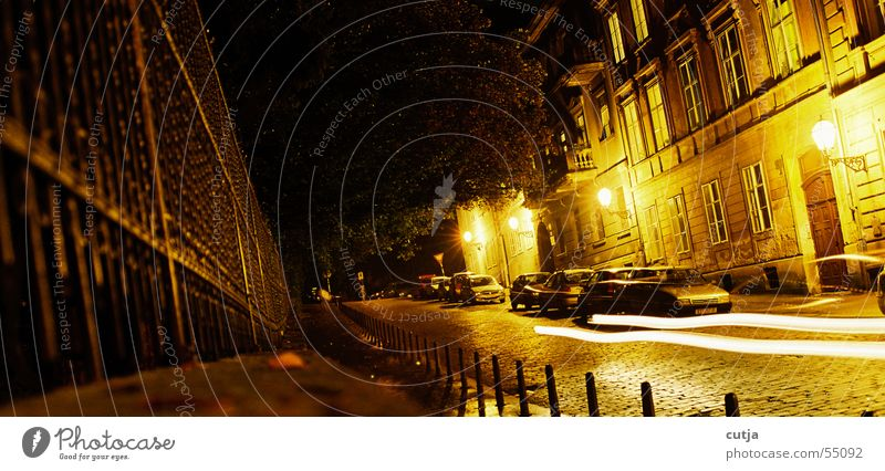 lichtgeschwindigkeit ruhig Straße Bewegung PKW glänzend Zaun Scheinwerfer