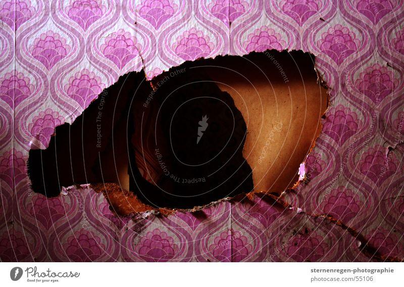 hole Tapete Fünfziger Jahre rosa Muster retro Zeit Vergänglichkeit Verfall Zerstörung verwüstet Karton 50's Loch Riss