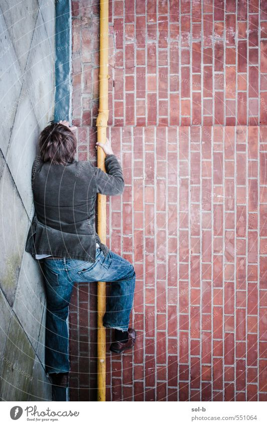 Mensch Jugendliche Mann Stadt Junger Mann 18-30 Jahre Erwachsene Wand Mauer lustig springen maskulin Kraft Stadtleben Häusliches Leben Erfolg