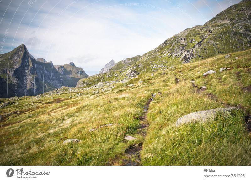 Der Weg ist das Ziel II Natur Ferien & Urlaub & Reisen Landschaft ruhig Ferne Berge u. Gebirge Wege & Pfade Gras Freiheit Stimmung Erfolg authentisch wandern