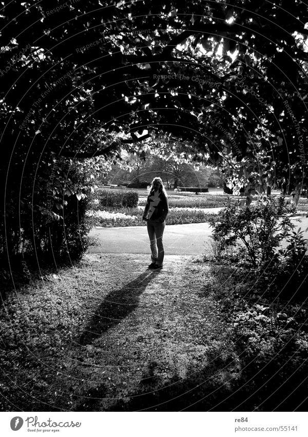 schattenspiele - hoffnung steht am ende des tunnels Frau Baum Sonne Pflanze dunkel hell Kraft Angst Hoffnung Ecke stehen Sträucher Ende Tunnel Strahlung Eingang