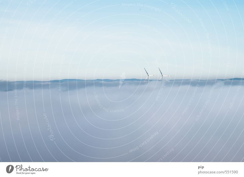 die energiewende steht in den wolken Himmel blau Wolken Horizont Nebel Wind Klima Energiewirtschaft modern Schönes Wetter Elektrizität Wolkenloser Himmel