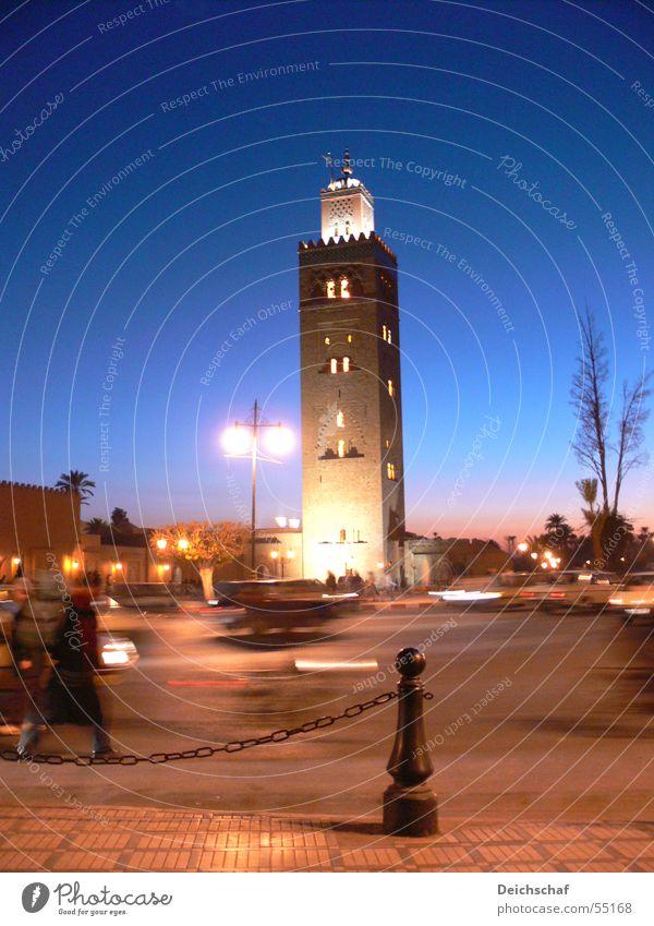 Marrakech Nacht Stimmung Stadt Moschee Afrika Marokko Ferien & Urlaub & Reisen Verkehr Hochformat Langzeitbelichtung Himmel marrakech Abend Mensch Bewegung