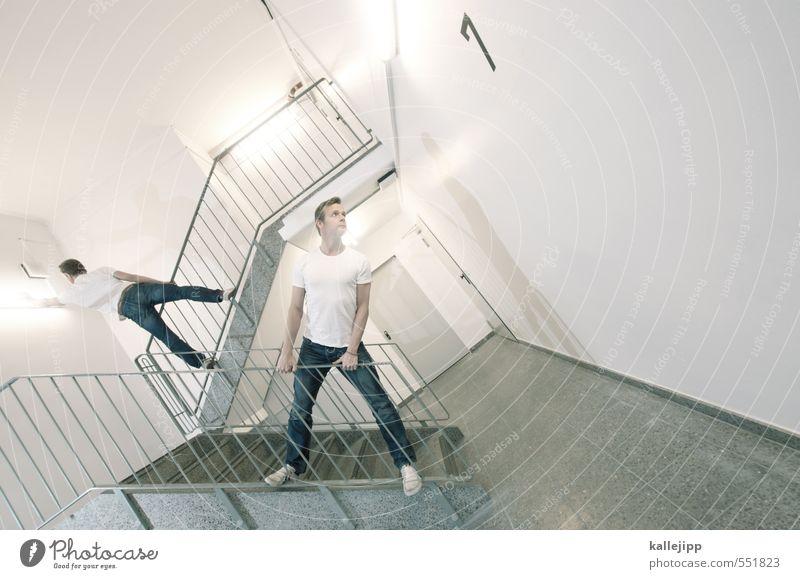 koalitionsverhandlungen Mensch maskulin Mann Erwachsene Leben Körper 2 Treppe Konzentration links rechts Licht greifen Treppengeländer festhalten Treppenhaus