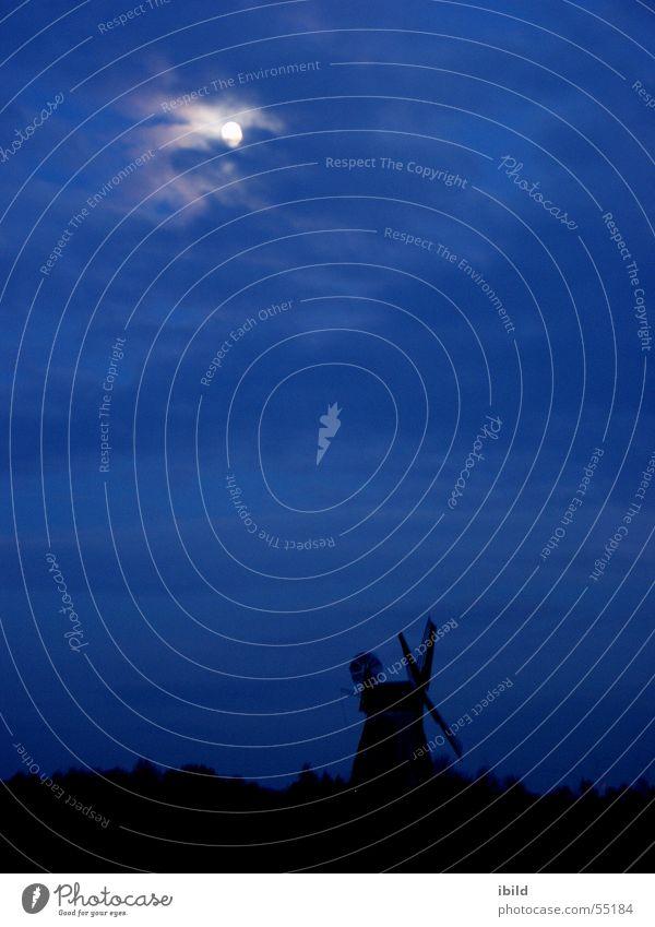 mühlennacht Windmühle Nacht Mondschein schwarz Denkmal Mühle blau Himmel