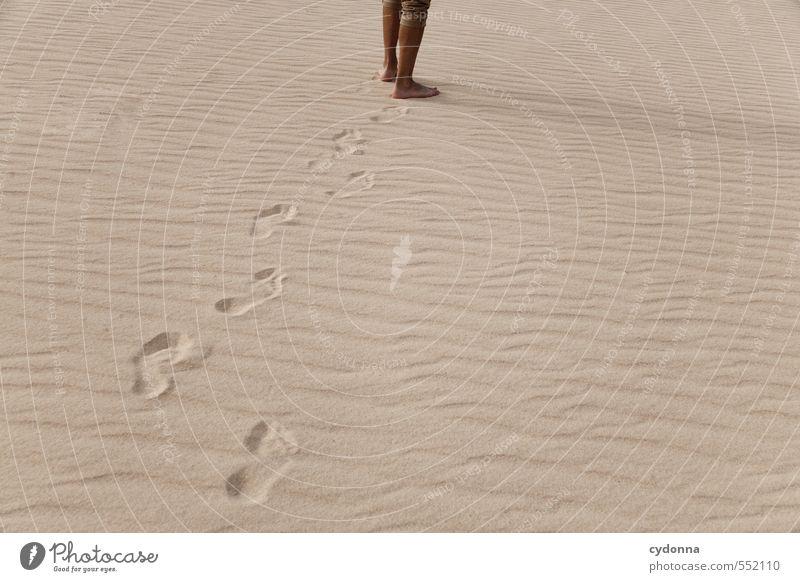 Neue Wege Leben Ferien & Urlaub & Reisen Tourismus Ausflug Abenteuer Ferne Freiheit wandern Mensch Mann Erwachsene Fuß Umwelt Natur Sand Sommer Strand Wüste