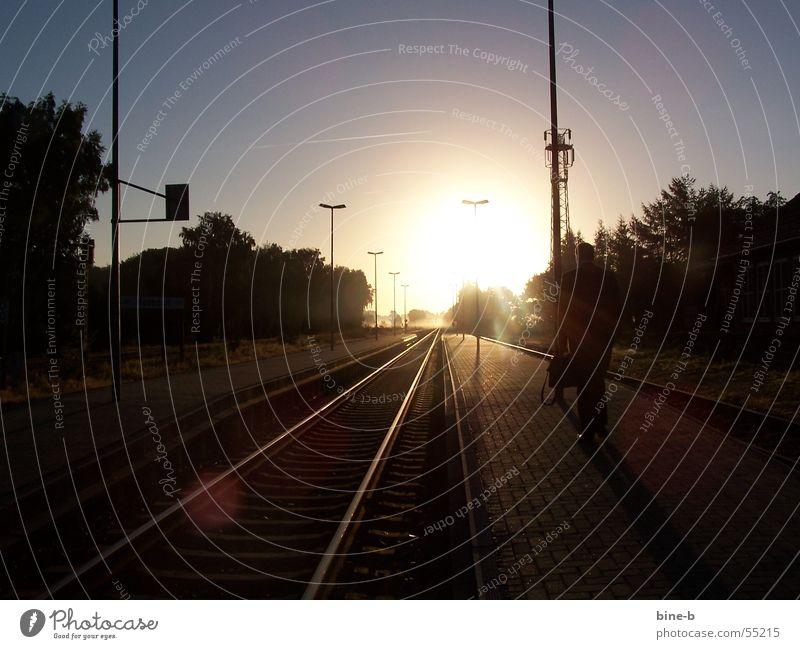 Weg zur Arbeit Ferien & Urlaub & Reisen ruhig Freiheit Traurigkeit Beleuchtung Nebel Idylle Dorf Gleise Bahnhof Momentaufnahme blenden Koffer zielstrebig