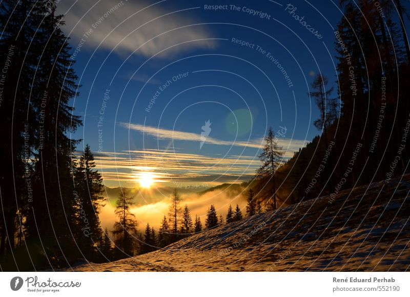 Sonnenuntergang mit Bodennebel und Schnee... Himmel Natur Sonne Baum Landschaft Wolken Wald kalt Berge u. Gebirge Umwelt Herbst Gefühle Schnee Glück Stimmung Zufriedenheit