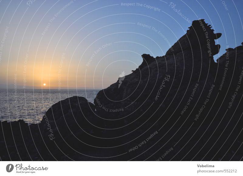Sonnenuntergang, Teneriffa Himmel Natur Ferien & Urlaub & Reisen blau Wasser Meer Landschaft schwarz Küste rosa orange gold Tourismus Schönes Wetter Insel