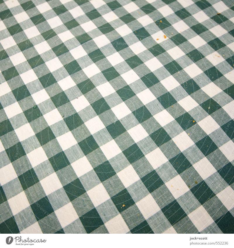 Karo Krümel Ernährung Stil Kultur Dekoration & Verzierung Tischwäsche Linie Streifen Netzwerk liegen ästhetisch authentisch einfach fest klein grün weiß
