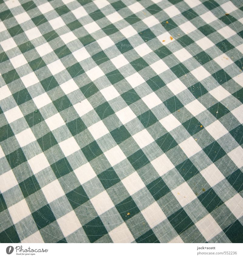 Karo Krümel Stil Kultur Dekoration & Verzierung Tischwäsche Streifen Netzwerk ästhetisch authentisch grün weiß Gastfreundschaft Reinlichkeit Sauberkeit Ordnung