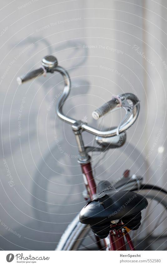 Gedoppelt Fahrrad alt kaputt grau rot unbeständig Fahrradsattel Zerreißen Lenker Schaufenster Farbfoto Gedeckte Farben Außenaufnahme Menschenleer