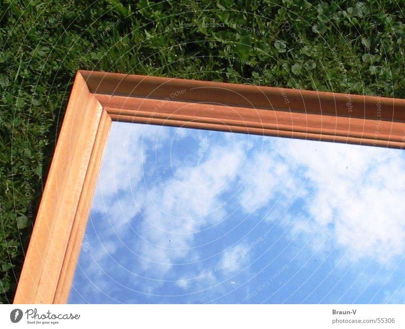 Wiesenspiegel grün blau Wolken Wiese Gras braun Spiegel Rahmen