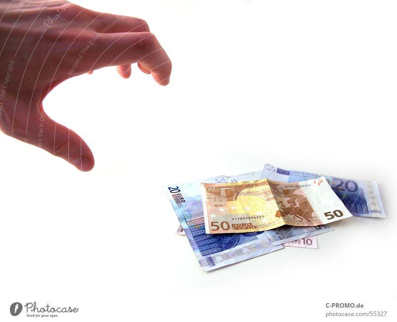Vorsicht Langfinger! Hand Angst Geld gefährlich Euro Geldscheine Panik bezahlen Dieb Kapitalwirtschaft finden Diebstahl Krallen nehmen Schatz