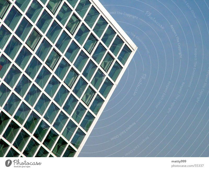 Glashaus Pavillon eckig kubisch blau