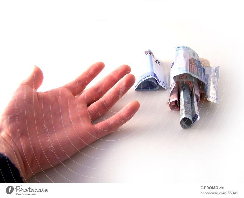 Die Wurzel alles Bösem - die Habgier Geld Hand Geldscheine Gier ausgestreckt Tatort Kriminalität Finger Vergänglichkeit Reichtum Angst Panik gefährlich