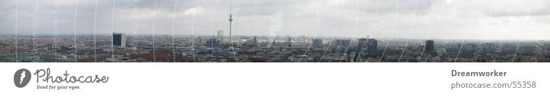 Berlin Himmel blau groß Panorama (Bildformat) Berliner Fernsehturm Alexanderplatz Natur