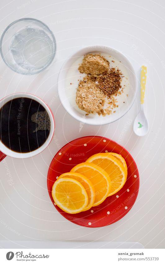 Frühstück Lebensmittel Joghurt Milcherzeugnisse Frucht Orange Getreide Dessert Bioprodukte Vegetarische Ernährung Diät Heißgetränk Kaffee Geschirr Tasse Besteck