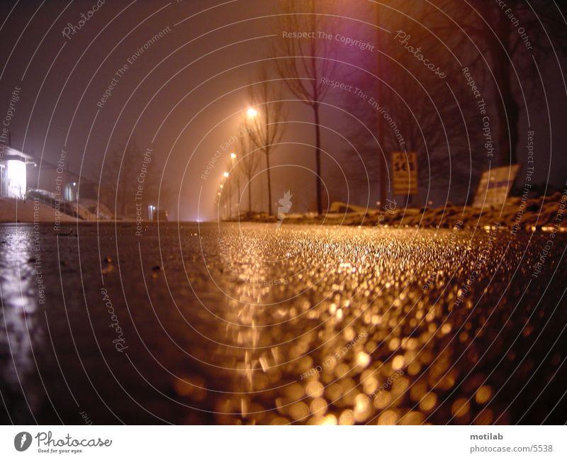 wetstreet Fahrbahn nass Nacht Einsamkeit fahren Verkehr Straße