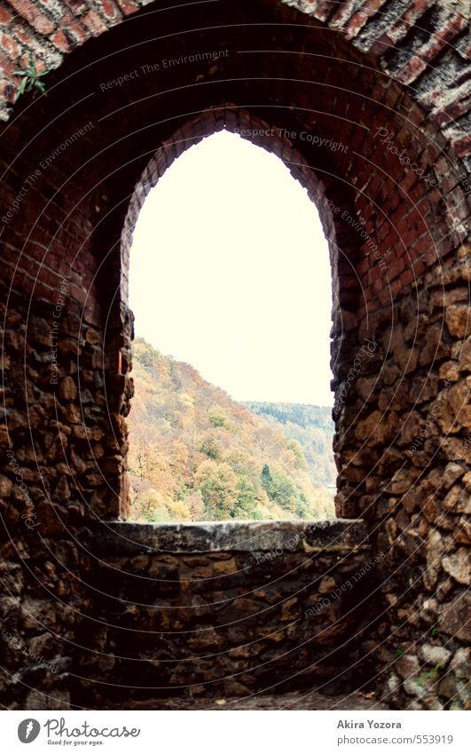 Burgaussicht Himmel Natur alt grün Baum rot Landschaft schwarz Wald gelb Fenster Berge u. Gebirge Wand Herbst Gebäude Mauer