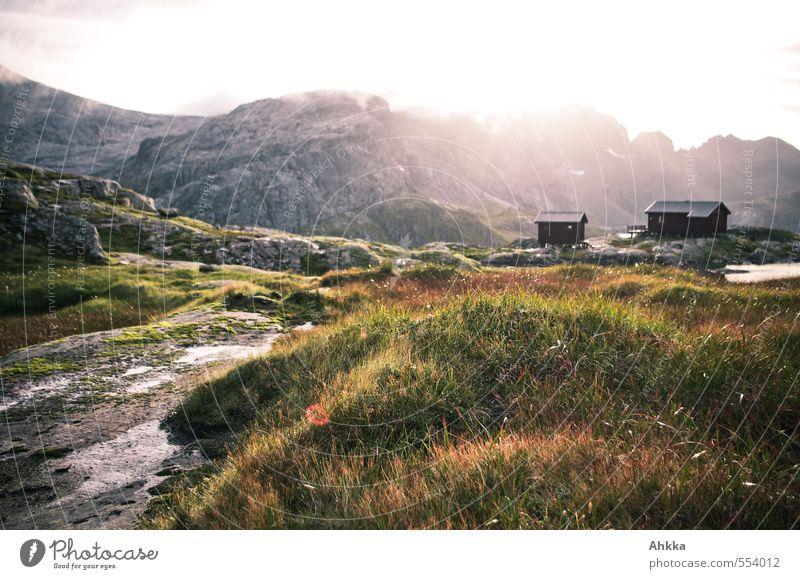 Ziel erreicht Natur Ferien & Urlaub & Reisen schön Wasser Landschaft ruhig Ferne Berge u. Gebirge Gefühle Gras Freiheit Felsen träumen Stimmung rosa Idylle