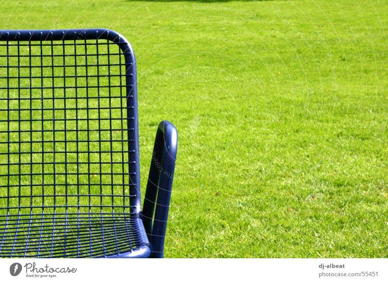 und wenn ich nicht hier bin bin ich aufm sonnendeck Natur grün blau Freude ruhig Erholung Wiese Freiheit Park Metall sitzen Stuhl liegen genießen Mannheim