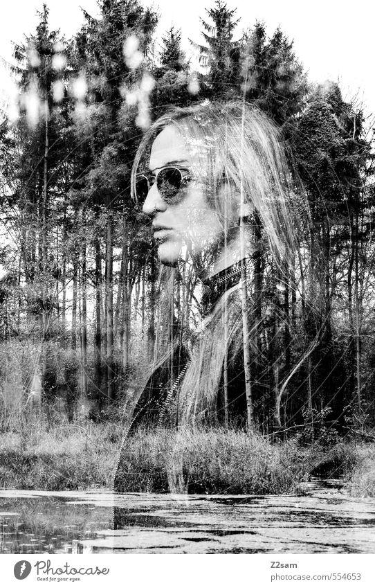 Dark Angel Mensch Jugendliche Baum Junge Frau Landschaft 18-30 Jahre Wald dunkel Erwachsene feminin Stil See Mode Kraft elegant blond