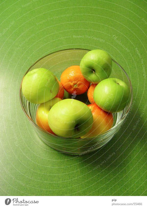 Grünzeug Orange Obstschale grün Grünstich Vitamin Gesundheit saftig süß Apfel Frucht Schalen & Schüsseln Glas grünlich Wut Ernährung