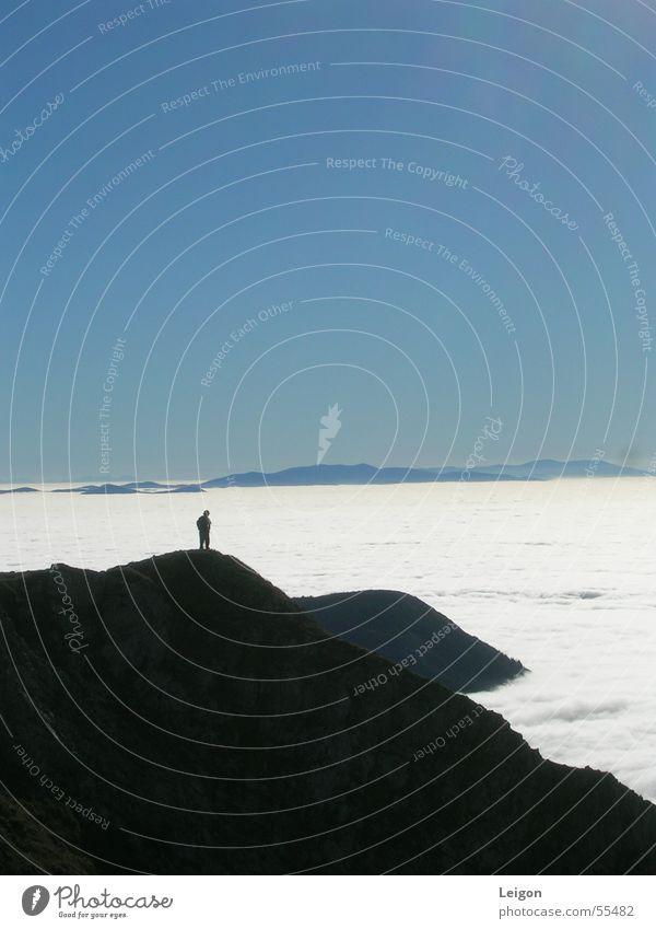 Der Einsame Wanderer 2 Herbst Österreich Gipfel wandern Einsamkeit weiß Wolken Wolkendecke Berg Hohe Veitsch blau Berge u. Gebirge