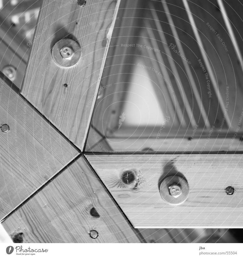 Balkensiedlung Holz Ast Schraube Niete Astloch