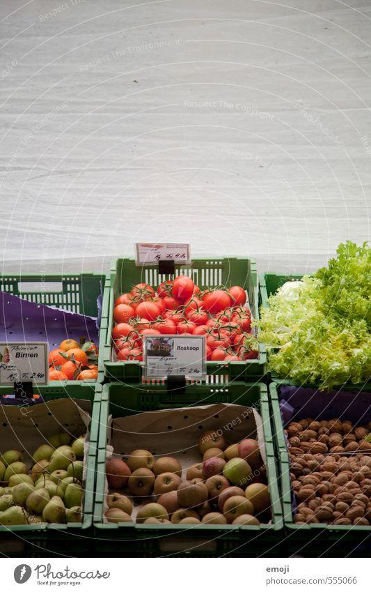 buntes Gemüse Lebensmittel Salat Salatbeilage Frucht Ernährung Bioprodukte Vegetarische Ernährung frisch Gesundheit mehrfarbig Markt Marktstand aufgereiht