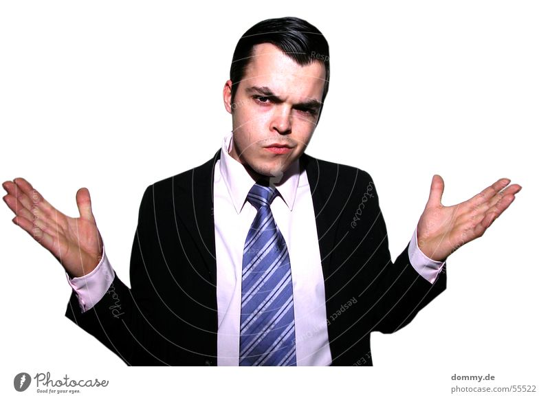 Wat los ? Mann Hand blau schwarz Auge Mund Business lustig Nase Ohr Anzug Typ Fragen Krawatte Kerl gestreift