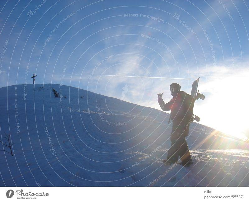 Gipfelkreuz am Heuberg nahe Rosenheim II Snowboard Ferien & Urlaub & Reisen Gegenlicht aufsteigen Winter Berge u. Gebirge Schnee Sonne max vogelgrippen-rob