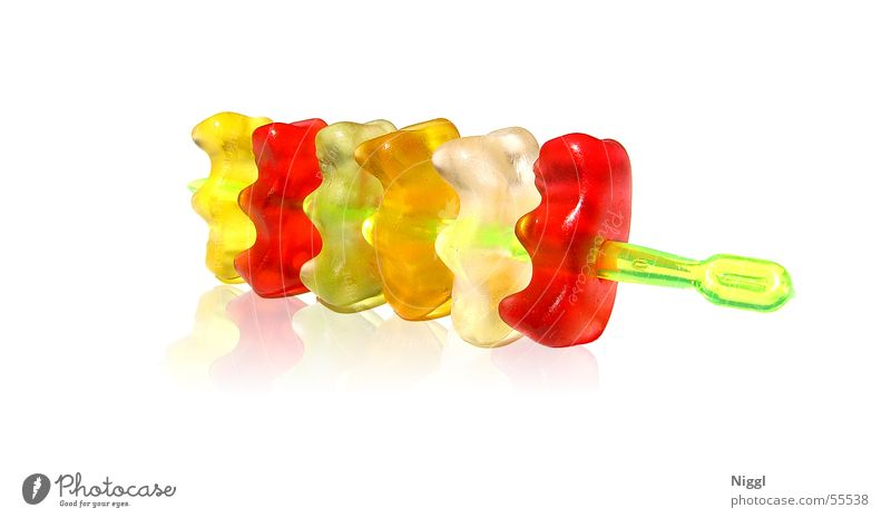 Bärenspieß weiß grün rot gelb orange lustig süß Süßwaren Lebensmittel Gummibärchen Gelatine aufgespiesst
