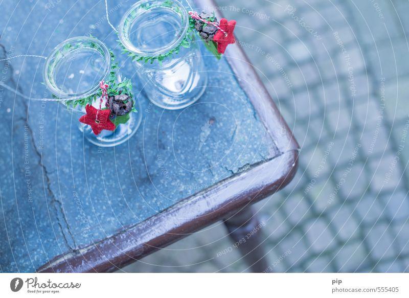 deko Tisch Dekoration & Verzierung Kerze Kitsch Krimskrams kalt blau rot Weihnachtsdekoration Teelichtständer Stern (Symbol) Windlicht antik Glas