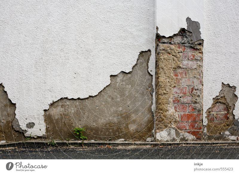 Mauer vs.Zeit | Punktsieg Menschenleer Ruine Wand Fassade Backsteinwand Putzfassade Beton Linie Riss Betonmauer Betonwand alt kaputt weiß Gefühle standhaft