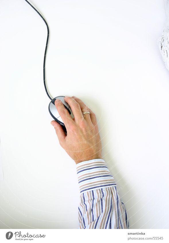 Click weiß Hand Computer Finger Streifen Informationstechnologie Hemd Computermaus Mensch Vorgesetzter online Technik & Technologie