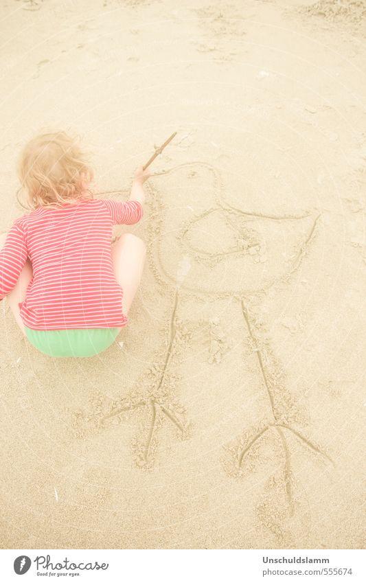 Tweet Mensch Kind Ferien & Urlaub & Reisen grün Sommer rot Mädchen Freude Tier Strand Leben Spielen Sand hell Kunst Vogel