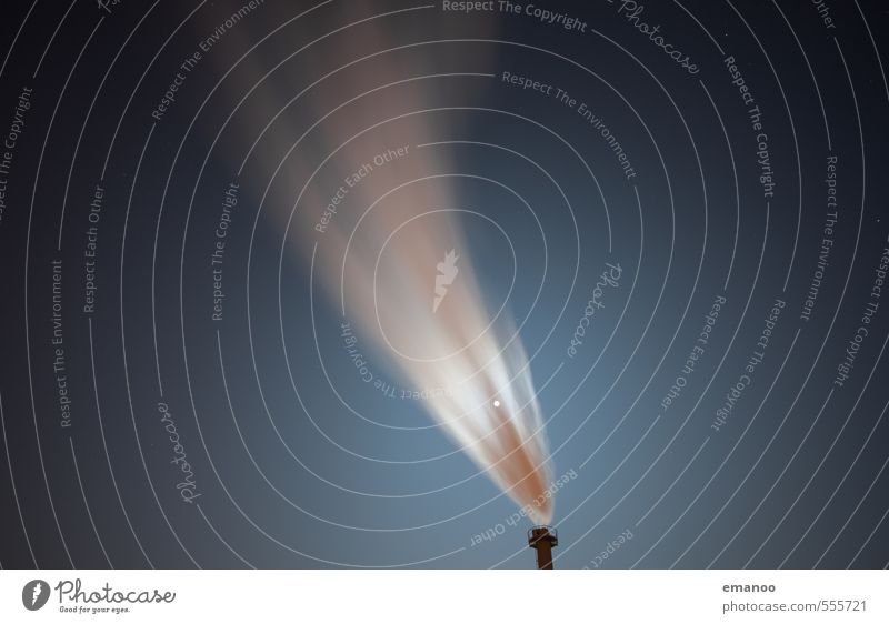 Nachtverschmutzung Himmel blau kalt Wärme Energiewirtschaft dreckig Wind Technik & Technologie Industrie Stern Rauch Rauchen Fabrik Abgas Mond