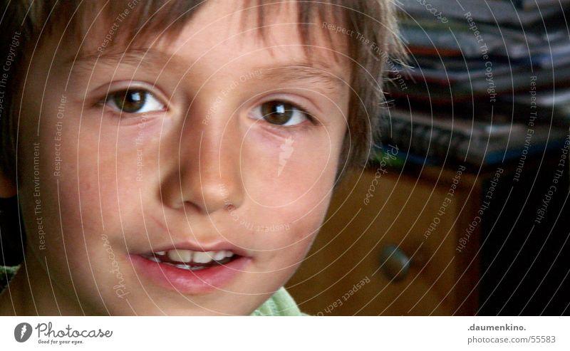 Kopfkino Junge Kind Lippen Holz Papier zögern faszinierend Mensch Auge Mund Haare & Frisuren strin Nase Gesicht Zeitschrift Schreibtisch Blick lachen hair eyes