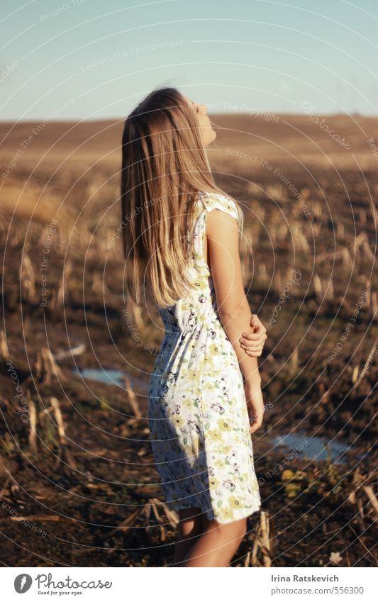 Mensch Himmel Natur Jugendliche schön Junge Frau Landschaft Freude 18-30 Jahre Erwachsene Wärme Herbst Haare & Frisuren träumen Stimmung Körper