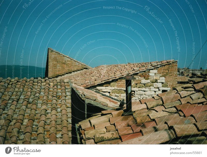 dächer_01 blau oben Dach Italien Dorf zerbrechlich Terrakotta Bel Paese