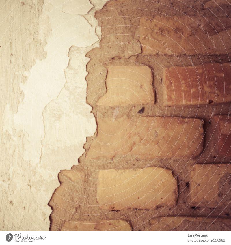 Handlungsbedarf Menschenleer Haus Bauwerk Gebäude Mauer Wand Fassade Stein Linie Arbeit & Erwerbstätigkeit alt trashig trist braun rot weiß Ende Stadt Verfall