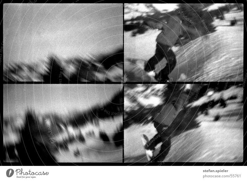Sprung 2 schwarz weiß springen Winter Snowboard Skipiste Kick Geschwindigkeit Ferne grau Trick Schwarzweißfoto Lomografie Bewegung Schnee Schanze hoch Himmel