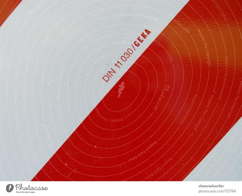 Red on White rot weiß Schilder & Markierungen din Metall