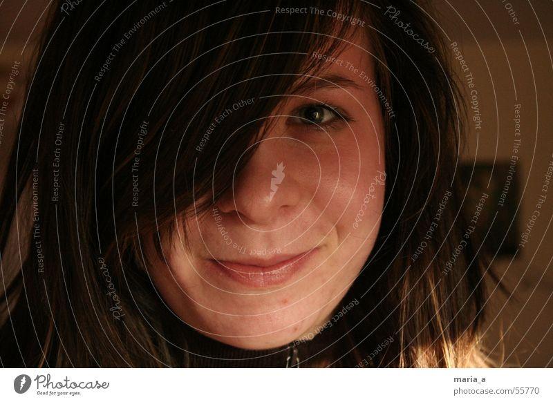 :) Frau Auge Haare & Frisuren Mund Nase grinsen