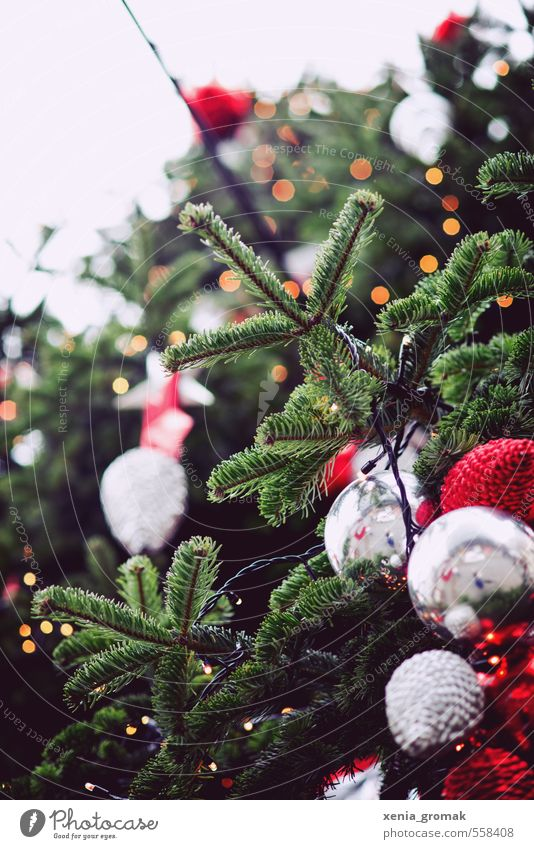 x-mas Freude Feste & Feiern Weihnachten & Advent Jahrmarkt Dekoration & Verzierung Schleife Kitsch Krimskrams Kugel leuchten Duft grün rot silber Vorfreude